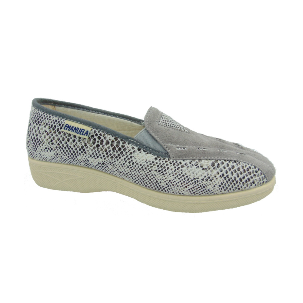 Scarpa Donna Slip-on Emanuela 2212 Snake Grigio. Made in Italy.
