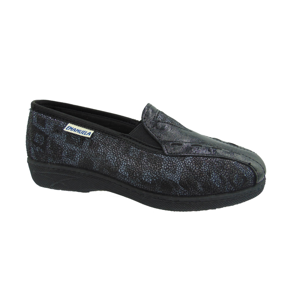 Scarpa Donna Slip-on Emanuela 2212 Cecile Nero. Made in Italy.